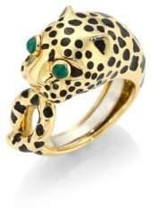 David Webb Kingdom 18K Yellow Gold& Emerald Leopard Ring