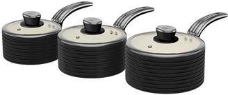 Swan Retro Set Of 3 Saucepans - Black
