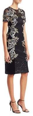 Teri Jon by Rickie Freeman Floral Jacquard Cocktail Sheath Dress