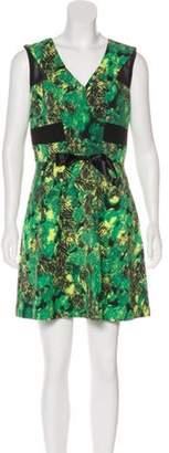 Marni Leaf Print Mini Dress Green Leaf Print Mini Dress