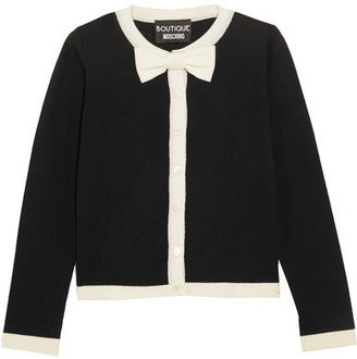 Boutique Moschino - Bow-embellished Wool And Cotton-blend Cardigan - Black $475 thestylecure.com
