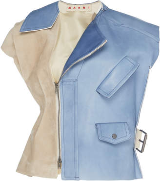 Marni Two-Tone Paneled Suede And Leather Vest