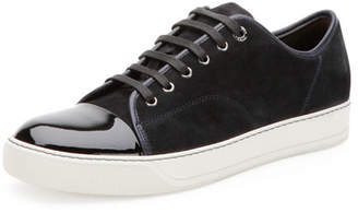 Lanvin Men's Suede & Patent Leather Low-Top Sneakers, Navy