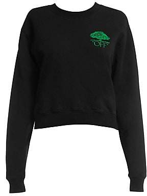 Off-White Women's Off Tree Cropped Crewneck Sweater