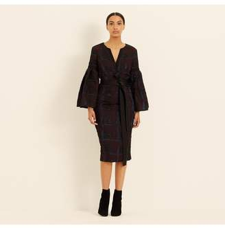 Amanda Wakeley Check Cloque Statement Sleeve Dress