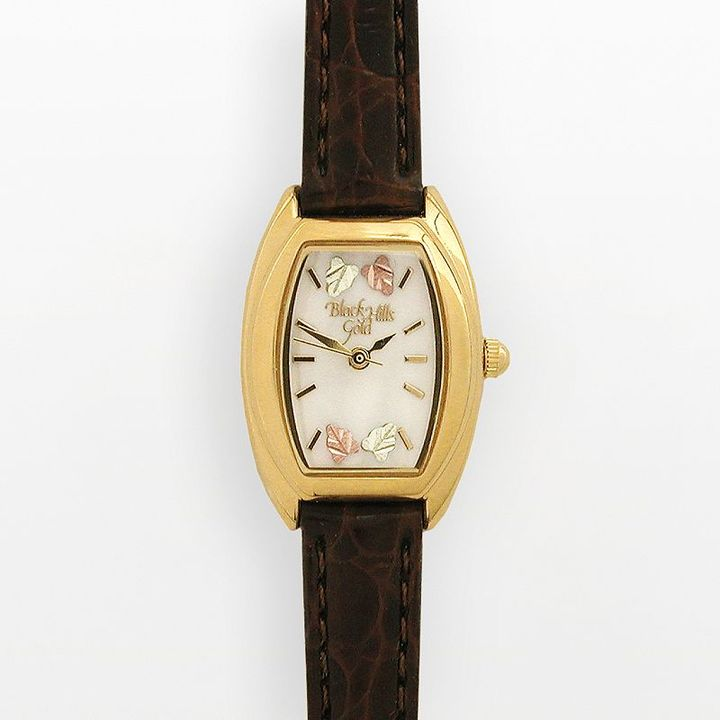 Brown-leather band leaf watch