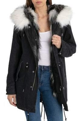 AVEC LES FILLES Three-in-One Faux Fur Trimmed Denim Parka