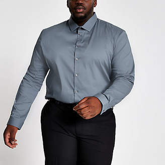 River Island Big and Tall light blue muscle fit shirt