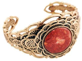 Barse Textured Bronze Bezel Set Coral Open Cuff Bracelet