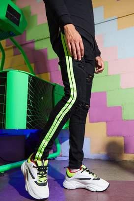boohoo Super Skinny Biker Jean With Neon Side Tape