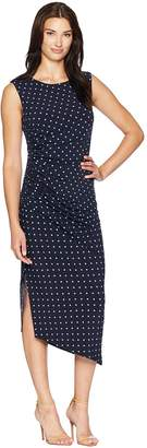 Vince Camuto Cap Sleeve Romantic Dots Side Ruched Dress Women's Dress