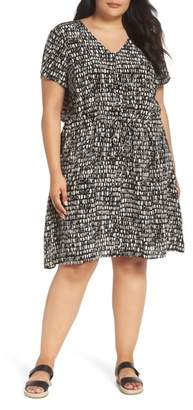 Eileen Fisher Print Silk A-Line Dress