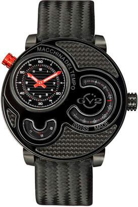 Gv2 Men's Swiss Quartz Macchina Del Tempo Black Leather Strap Watch