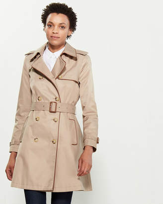 Lauren Ralph Lauren Faux Leather Piped Belted Trench