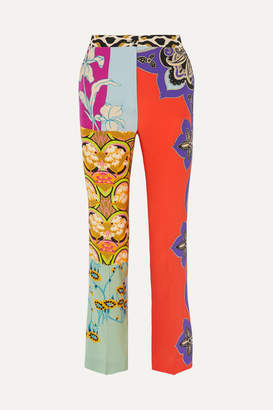 Etro Printed Silk Flared Pants - Coral