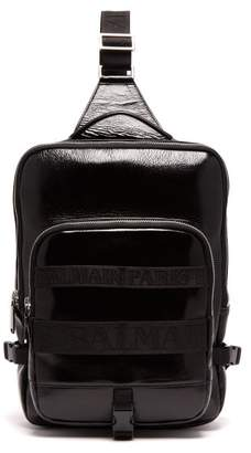 Balmain One Shoulder Cross Body Leather Backpack - Mens - Black