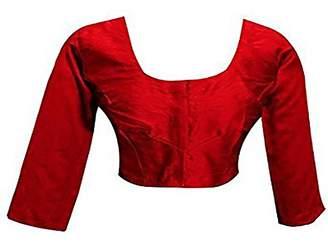 SHRI BALAJI SILK & COTTON SAREE EMPORIUM Plain Raw Silk Red ready made Sari blouse Top Choli ideal for contrast match