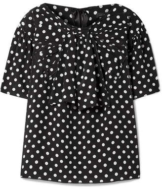 Marc Jacobs Polka-dot Silk-georgette Blouse - Black