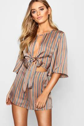 boohoo Tie Front Striped Playsuit