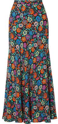 Etro Floral-print Crepe Maxi Skirt - Blue