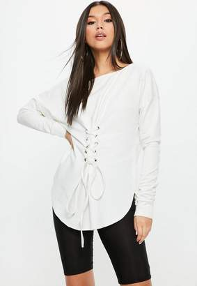 Missguided White Corset Waist Lace Up Front Tunic