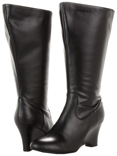 Fitzwell Lyra Low Extra Wide Calf Boot (Black Soft Calf) - Footwear