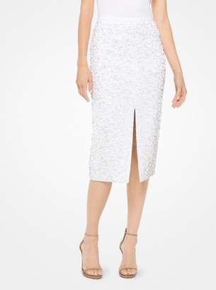 Michael Kors Floral Sequined Double Crepe-Sable Pencil Skirt