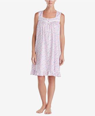 Eileen West Venise-Lace Cotton Knit Nightgown