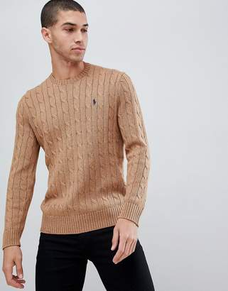 3b33bdbe613d1 Polo Ralph Lauren cable cotton knit jumper with player logo in camel marl