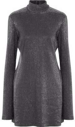 Ellery Abigail Metallic Ribbed-Knit Turtleneck Mini Dress