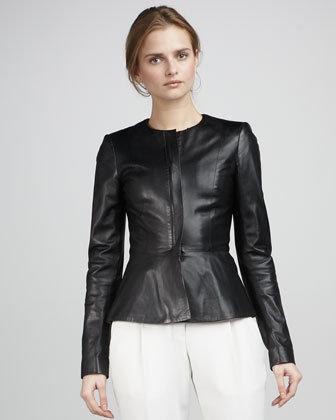 Theory Leather Peplum Jacket