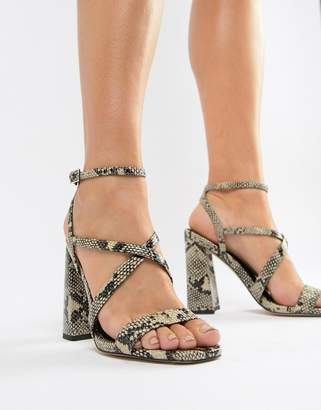 Asos DESIGN Home Girl heeled sandals in snake