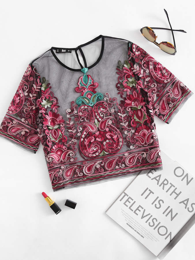 Flower Embroidery Mesh Crop Top