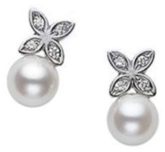 Mikimoto 18K White Gold & Pearl Earrings