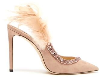 Jimmy Choo Tacey 100 Crystal Embellished Suede Pumps - Womens - Nude
