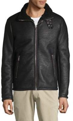 Double Buckle Faux-Shearling Jacket