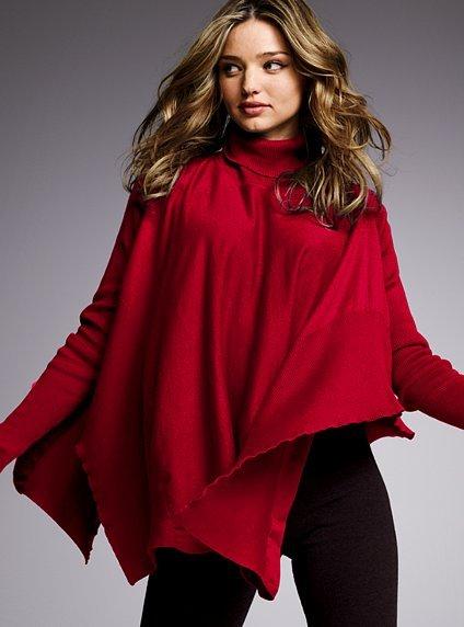 Cotton & cashmere sweater poncho