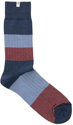 Melange Home 40 Colori Grey Blue Ribbed Striped Organic Cotton Socks