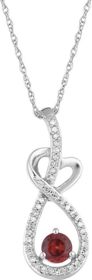 10k White Gold Garnet & 1/8 Carat T.W. Diamond Infinity Heart Pendant Necklace