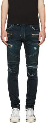 Balmain Blue Washed Biker Jeans $1,750 thestylecure.com