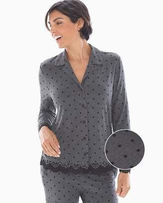 Cool Nights Lace Trim Long Sleeve Notch Collar Pajama Top Winsome Dot Heather Quartz