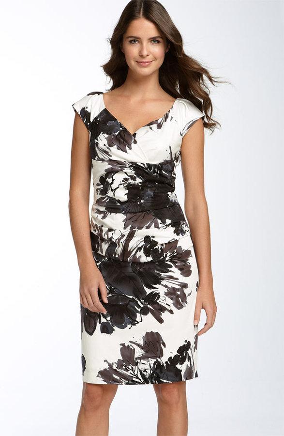 Suzi Chin Maggy Boutique Ruched Stretch Cotton Sheath Dress