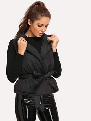 Shein Self Belted Puffer Coat