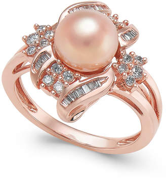 Macy's Pink Cultured Freshwater Pearl (8mm) & Diamond (3/8 ct. t.w.) Ring in 14k Rose Gold