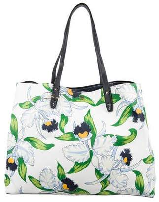 Tory Burch Floral Leather Tote