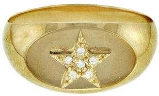 Foundrae Baby Signet Star Ring - Yellow Gold