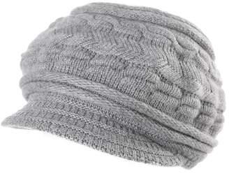 847ca1778ce Siggi Knitted Visor Beanie Brim Cold Weather Winter Hat Women Newsboy Cap  Pruple