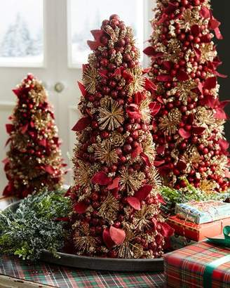 Salzburg Creations Burgundy and Rose Gold Fireworks Tabletop Christmas Tree - 18""
