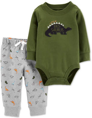 Carter's Carter Baby Boys 2-Pc. Dinosaur Bodysuit & Jogger Pants Cotton Set