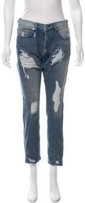 OAK Distressed Mid-Rise Jeans